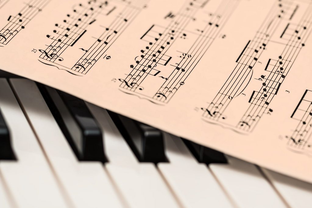 Sheet music with piano keyboard image