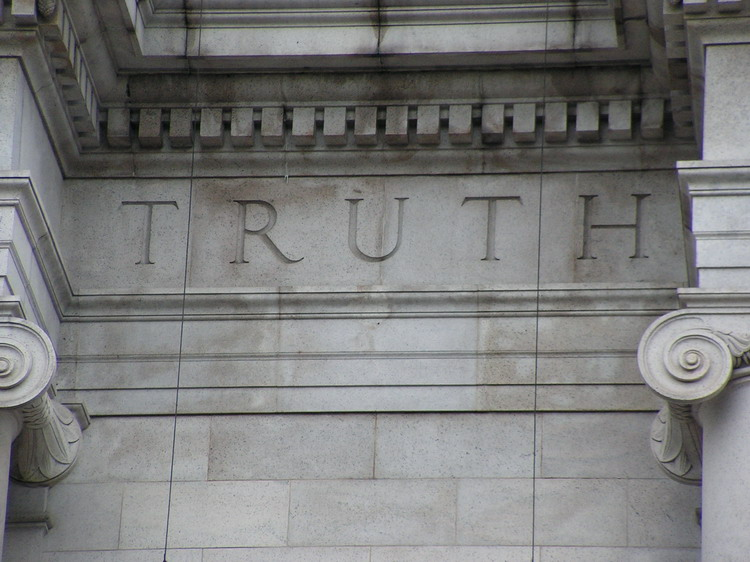 Truth carved into a building image