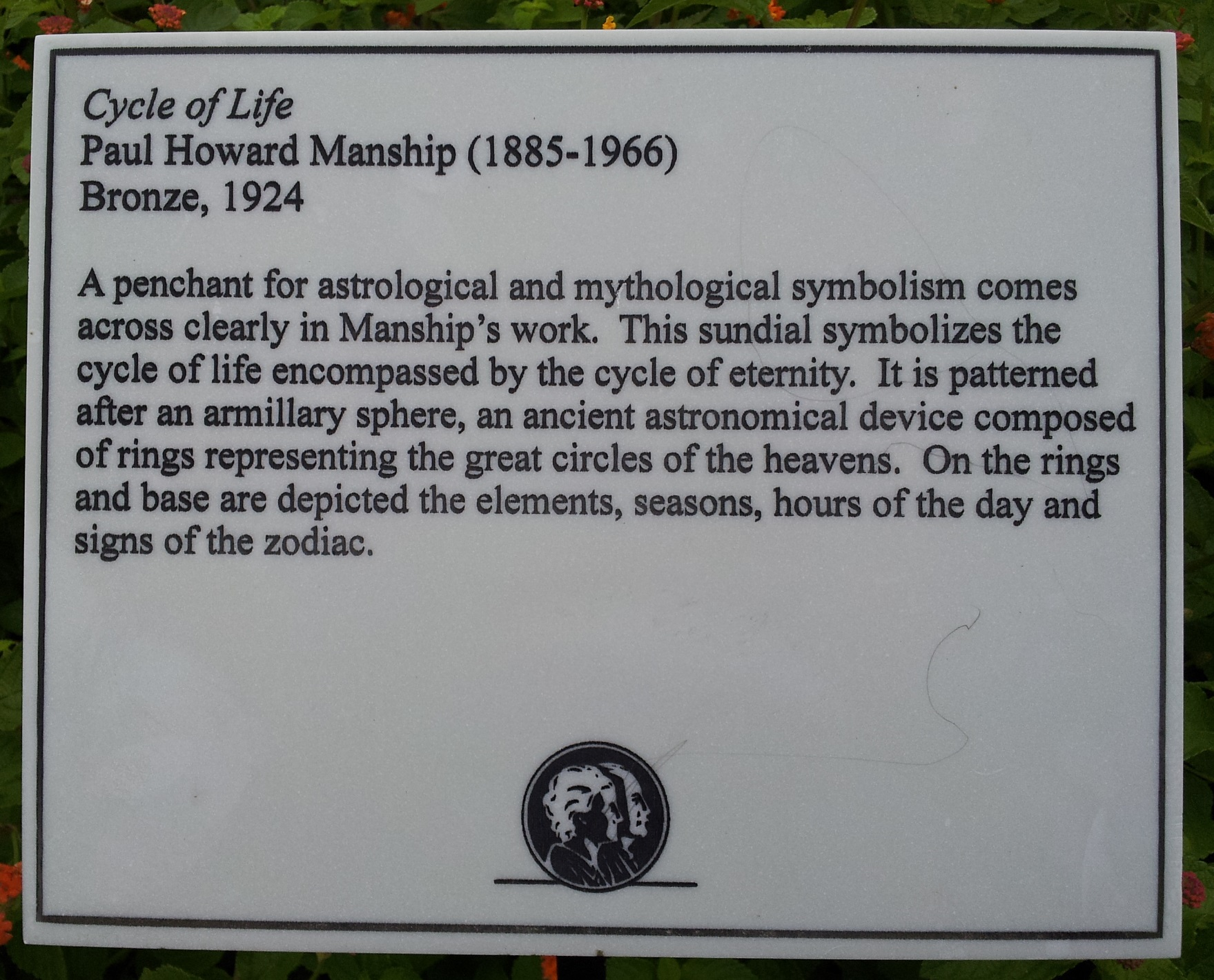Cycle of Life by Paul Howard Manship (plaque, Brookgreen Gardens)