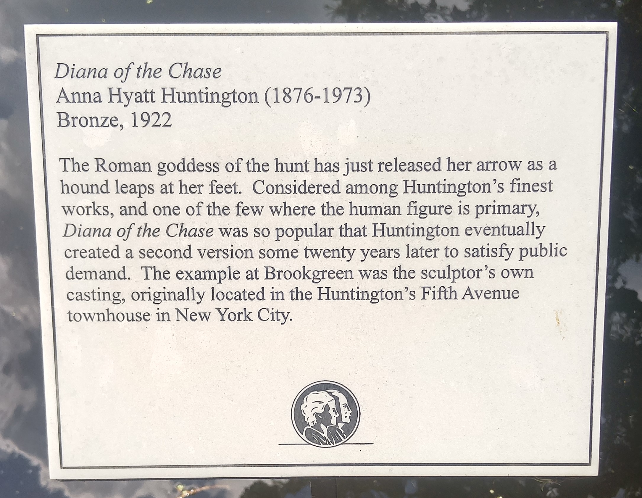 Diana of the Chase by Anna Hyatt Huntington (plaque)