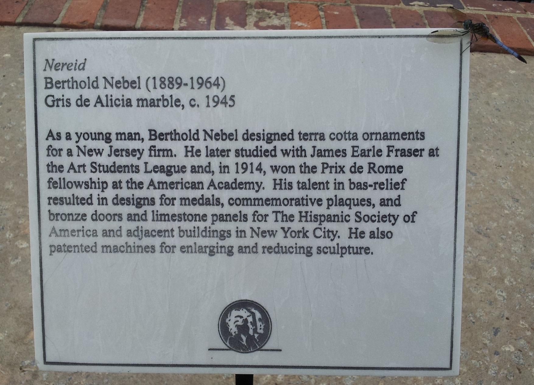 Nereid by Berthold Nebel (plaque)