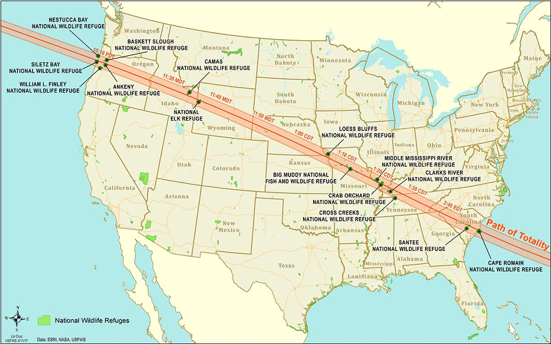 Total Solar Eclipse - August 2017 - Path across the United States