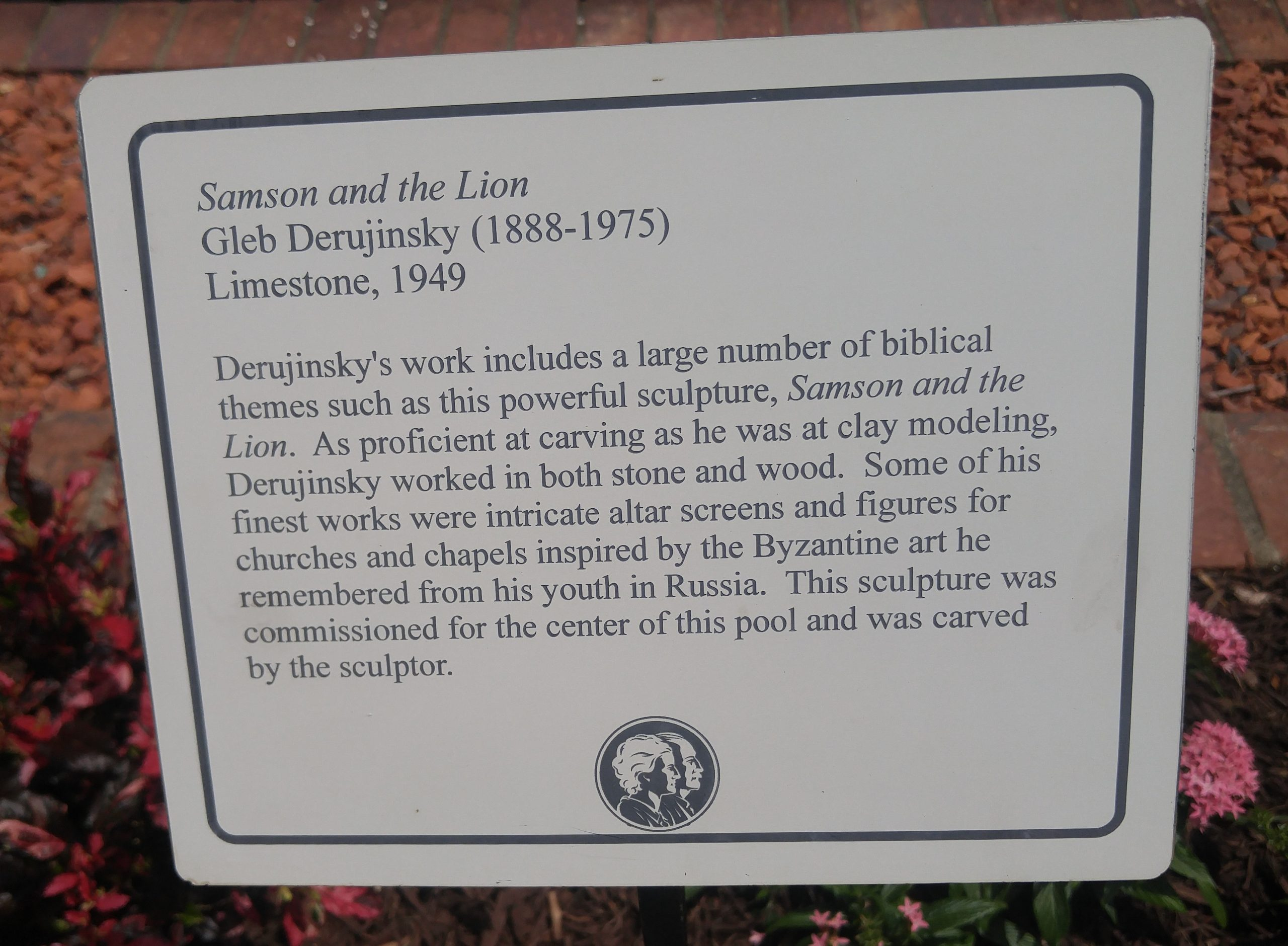 Samson and the Lion by Gleb W. Derujinsky (plaque)