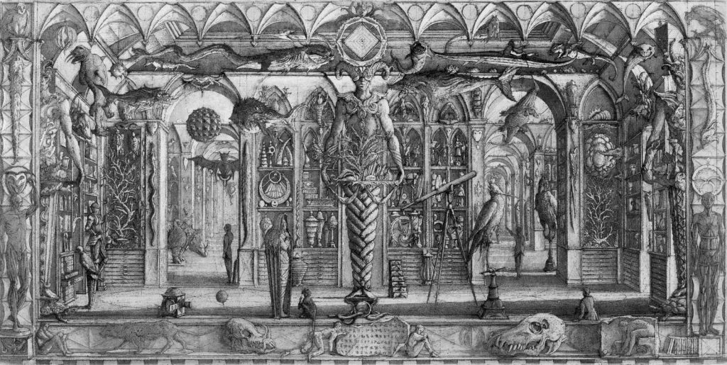 Kunstkammer, Wunderkammer, Cabinet of Curiosities (old engraving)