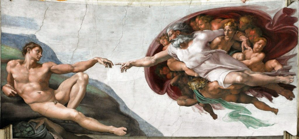 Michaelangelo's Creation of Man, Sistine Chapel - image from Pixabay.com