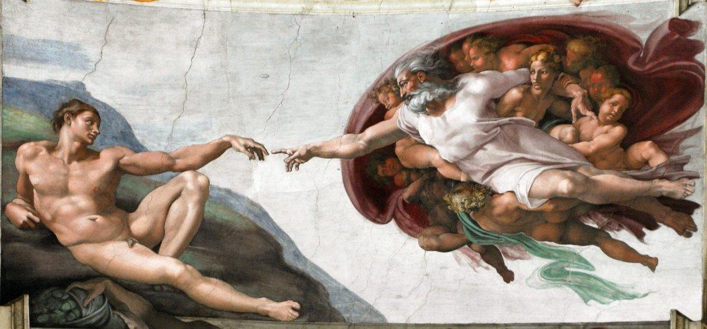 Michaelangelo's Creation of Man, Sistine Chapel - image from Pixabay.com